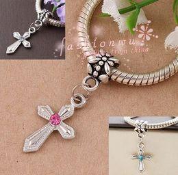 $enCountryForm.capitalKeyWord NZ - Hot ! 100Pcs mix color Rhinestone Sword Shaped Cross Charm Dangle Bead Fit Charm Bracelet DIY Jewelry 12mm*30mm