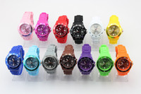 100pcs / lot Hot Sale Unisex 43MM Silicone Fashion Jelly Watch Hommes Femmes Rubber Candy Quartz Montres