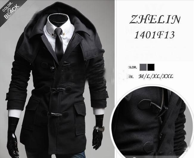 2017 2013 Men'S Coat Removable Hood Men'S Worsted Loose Trench ...