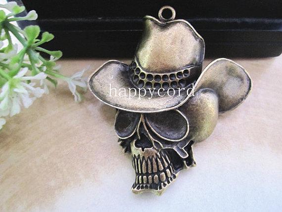 Cabeza de esqueleto de bronce antiguo con encanto de sombrero colgante 54mmx56mm 10 piezas / LOTE