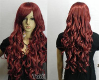 Vente en gros à bas prix Hot Sell New Fashion Long Dark Red Curly Femmes Lady's Hair Wig Perruques