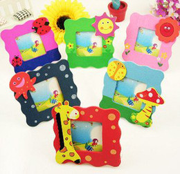 Wholesale Baby Wooden Picture Frame - Candice guo! Wooden mini cartoon photo frame message frame baby small picture frames
