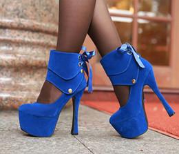 Königliche blaue partyschuhe online-Königsblau Edle Sexy Club Party Hochzeit 2 Möglichkeiten Plattform High Heels Riemchen Schuhe 3 Farben Größe 34