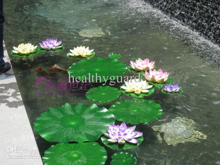 Large simulation lotus leaf artificial silk lotus flower for Plastic floating pond plants