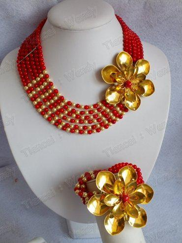 HotsaleFashion Red Gold Flower Coral Jewelry Set Coral Necklace