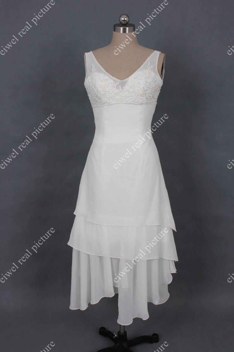 Knee Length Wedding Dresses V-neck A Line Appliqued Three Layered White Chiffon Bridal Gowns
