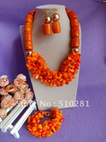 Wholesale Drum Coral Beads - Free ship!!! fashion Luxury Orange Drum and leaf bead coral bridesmaid bridal jewelry set necklace b