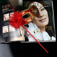 Wholesale Embroidery Half Face Mask - New Shiny Flower Embroidery Half Face Braid Mask with stick Mardi Gras Mask 6 colors