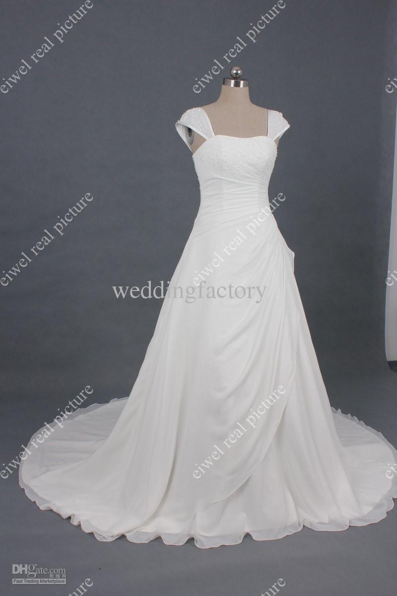 Square Neck Wedding Dresses A Line Court Train Length Beaded Ruffled White Chiffon Bridla Gowns
