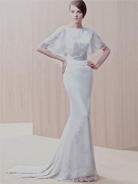 2013 Elegant Cape With Low V Back Wedding Dresses Scalloped Hemline Sheath Chiffon Bridal Gown
