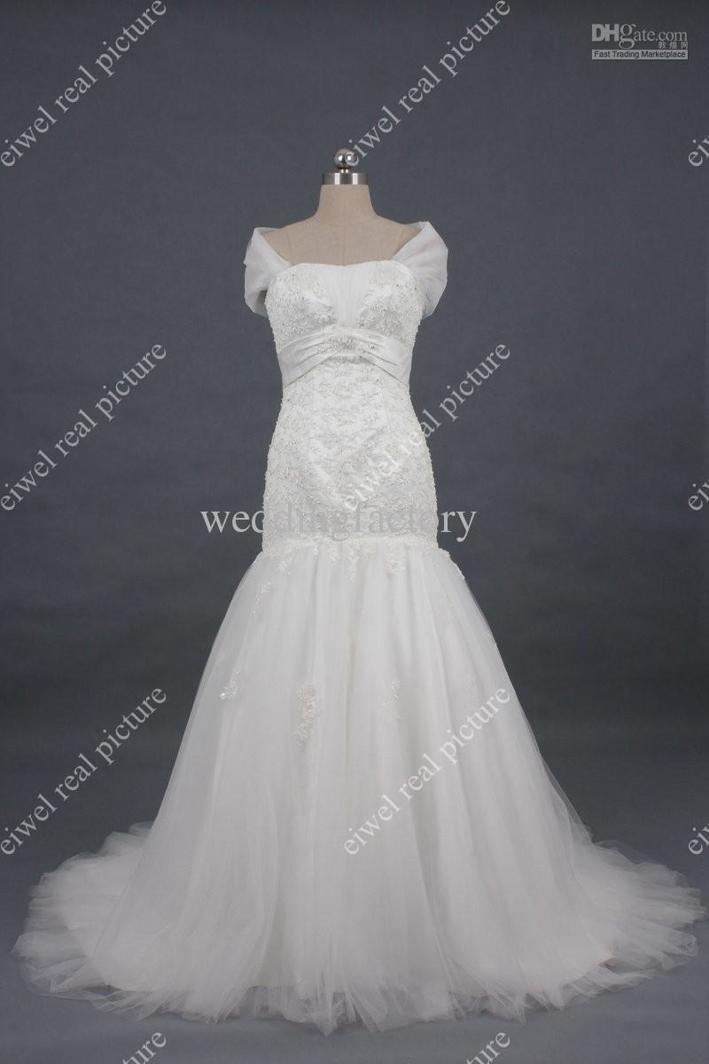 Strapless Wedding Dresses with Removable Shoulder Sweep Train Length Mermaid Appliqued Bridal Gowns