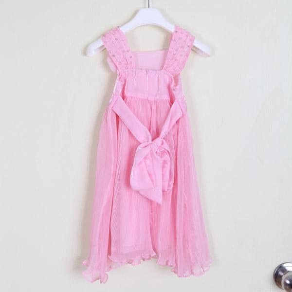 2013 Beautiful Girl Dress White Pink Ruffle Priness Dress Chic Beaded Sleeveless Children's Dress