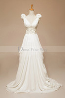 Wholesale Greeks Pictures - Romantic Greek Real Backless Bridal Gown 2014 Fashion Sexy V-neck Chiffon Wedding Dresses A-line Beads Pearls Trimmed Bridal Gowns
