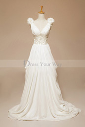 Wholesale Wedding Dresses Trimmed Red - Romantic Greek Real Backless Bridal Gown 2014 Fashion Sexy V-neck Chiffon Wedding Dresses A-line Beads Pearls Trimmed Bridal Gowns