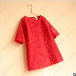 Wholesale Clothes Elbow - 2016 Baby Girl Kids Clothing Girls Lace Elbow Dress Children Casual Loose Dresses Kids Holiday Party Dress Red White Lace Hollow Dress 4699