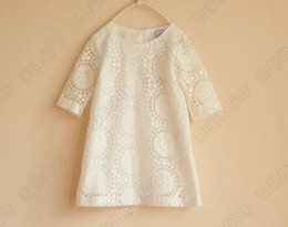 Wholesale Loose Dress Styles - 2018 Baby Girl Kids Clothing Girls Lace Elbow Dress Children Casual Loose Dresses Kids Holiday Party Dress Red White Lace Hollow Dress 4699