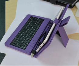 Wholesale Purple Pc Keyboard - 6 colors Leather Case with Micro USB and USB Keyboard for 7 inchTablet PC