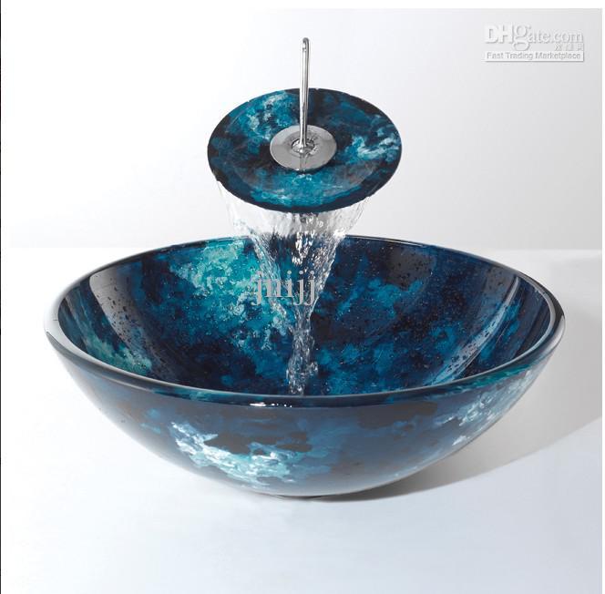 Bathroom Counter Wash Basin Waterfall Faucet Tempered Glass Mixer Tap Faucet Set