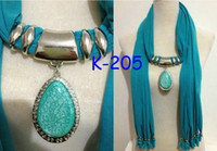 Wholesale Turquoise Grey - light blue charm necklace scarf jewellery fashion pendant style pendant scarf jewelry scarf
