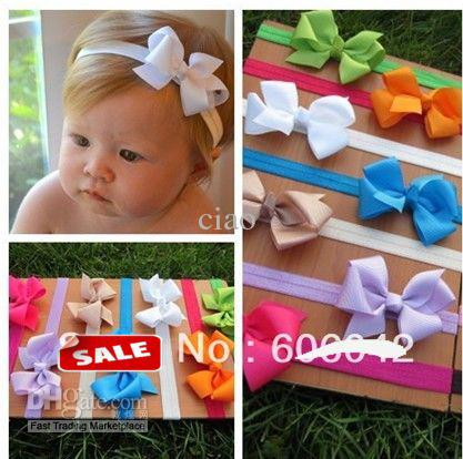 Baby Elastic Headbands Soft Stetch Headband With 3.3 3.5 Baby Ribbon  Bows 0b83eb664d9