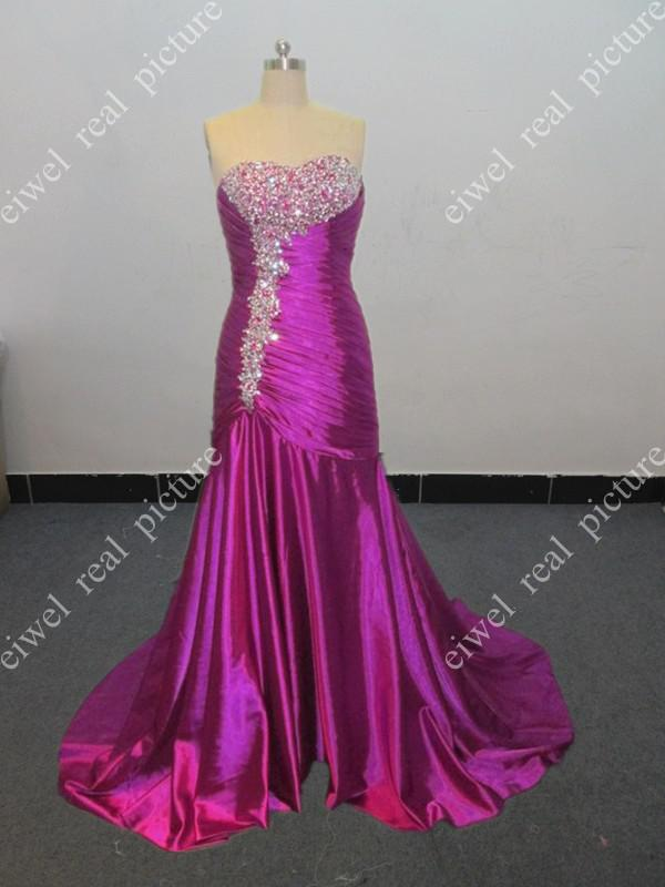 ED5770 Beautiful Lace-Up Sheath Court Train Pleats Beaded Handmade Ruched Evening Dress For Women