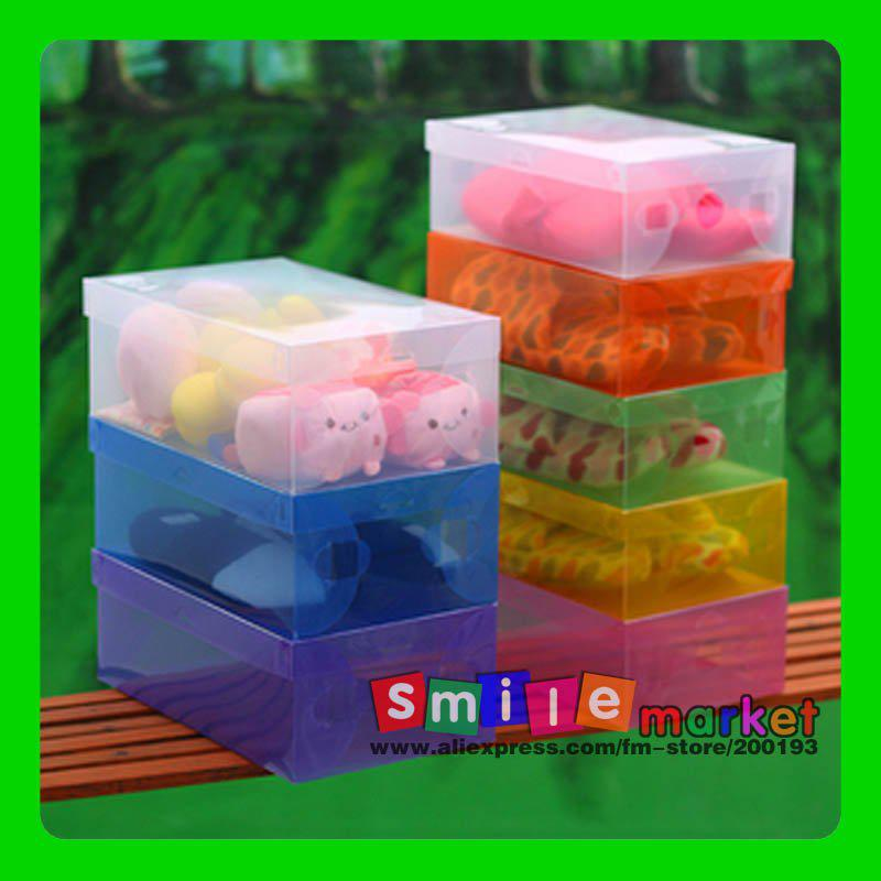 d2551a3cea Hot!!! Free shipping 200pieces/lot CLEAR plasic FOLDABLE storage box for  SHOES (random MIX colors)
