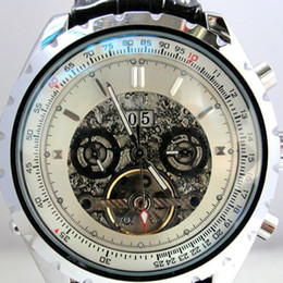 Wholesale Mechanical Tourbillion Watch Dive Stainless - jaragar Luxury Swiss Men Leather Mechanical Skeleton Tourbillion Date Dive Best Mens Replica Watches