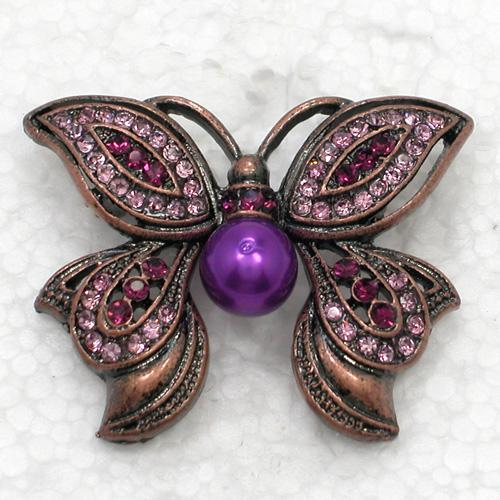 12pcs/lot Wholesale Fashion Crystal Brooches Rhinestone Faux Pearl Butterfly Pin Brooch C517
