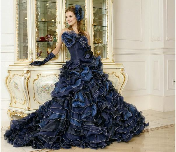 Chapel Dark Navy Blue Strapless Organza With Multi Ruffled Flounce ...
