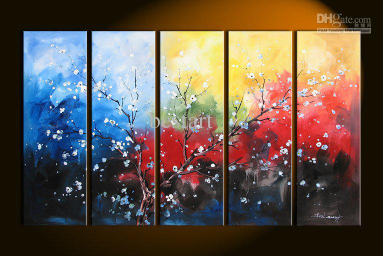 Perfect 2018 Hand Painted Oil Wall Art Colorful White Flowers Cloud Decoration  Abstract Landscape Framed Oil Painting From Bestart, $46.67 | Dhgate.Com