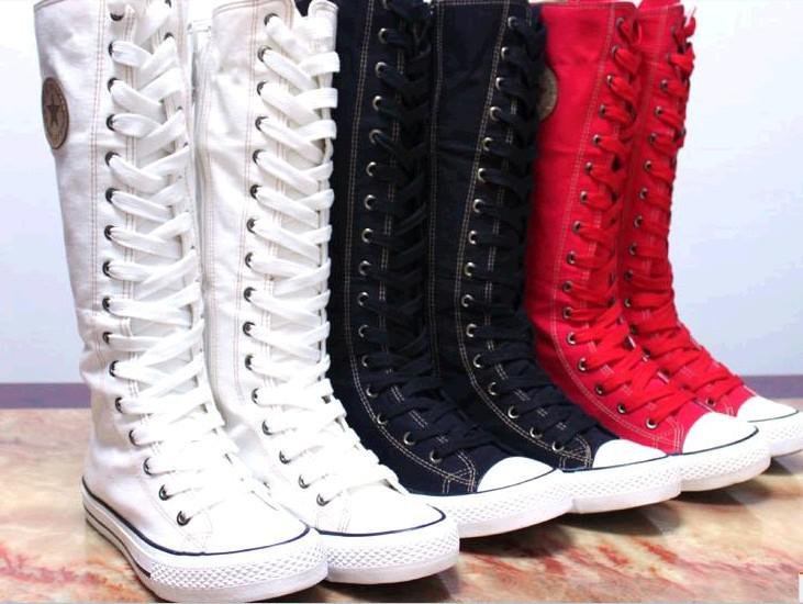 Girl S Tall Knee High Lace Up Canvas Sneaker Boots Black
