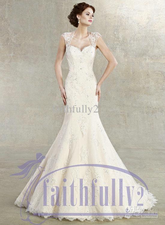 Elegant Mermaid Lace Wedding Dress Sweetheart Cap Steeve Beaded ...