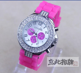 Wholesale Watch Steel Strap 12 Mm - 2017 Hot high quality Geneva Double Diamond watch for women silicone strap Shiny watches fashion free ship 12 colors 10pcs