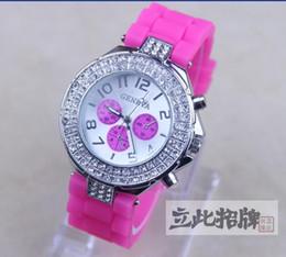 Wholesale Double Diamond Geneva Watches - 2017 Hot high quality Geneva Double Diamond watch for women silicone strap Shiny watches fashion free ship 12 colors 10pcs