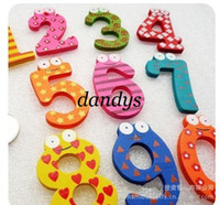 Wholesale Wooden Magnet Number - Free Shipping 15pieces set(10 sets lot) Creative items  Numbers Wooden fridge magnet sticker refrigerator magnet