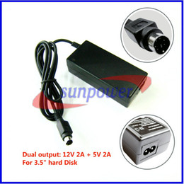Wholesale China Dvd Wholesaler - 20pcs lot, High Quality New Power Supply 12V + 5V AC Adapter for HDD Hard Disk Drive CD DVD-ROM with 6PIN PS2 port
