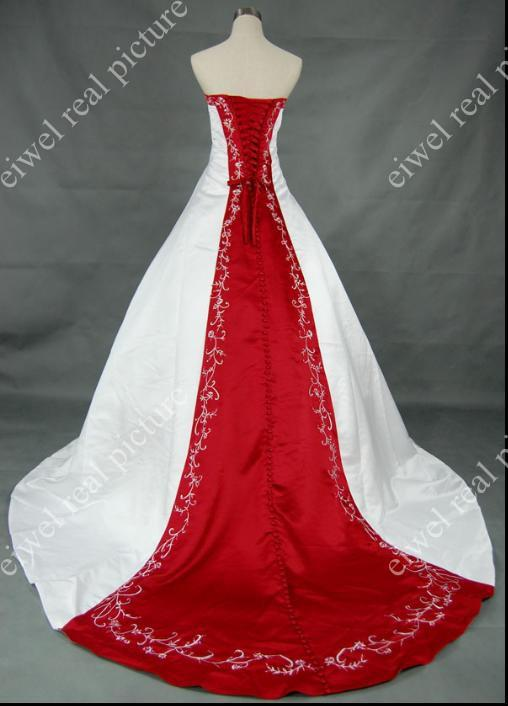 White and Red Wedding Dresses A Line Strapless Beaded Sweep Train Length Appliqued Bridal Gowns