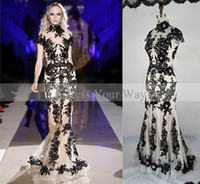 Wholesale Translucent Lace Dress - 2014 Sexy Zuhair Murad Black Lace Mermaid High Collar Translucent Evening Prom Dress Celebrity Gowns