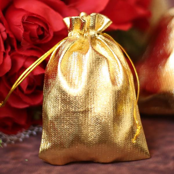 7x9 cm Gold Cloth Gift Bag Jewelry Wrap Party Bags Wedding Favors Valentine's Day 2.75 inch x 3.5 inch