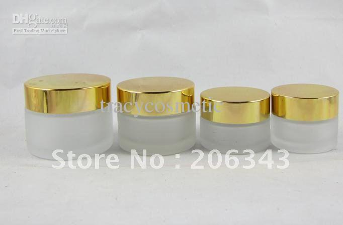 G Frosted Glass Jar Gold Lid