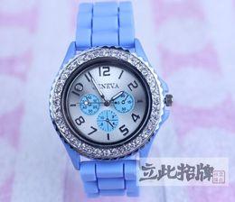 Wholesale Geneva Diamond Watches Men - Geneva Unisex Men Women's Geneva Diamond Watch Jelly Rubber Stone Silicone Crystal Watches 5pcs  Lot