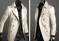 Wholesale Trench Dark Blue - trench coat KINGTIME Free shipping! Men's Coat Casual Cotton dust, Casual men's , Size :M-XXL BEIGE