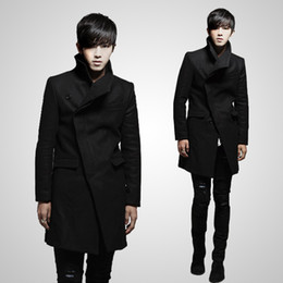 Wholesale French Style Clothes - trench coat 2012 men's clothing new arrival unique French front british style fashion slim long desi