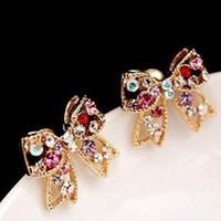 Wholesale Cheap Bow Earrings - Diamond bow Rhinestone Earrings wedding earring jewelry love earring cheap earring free shipping