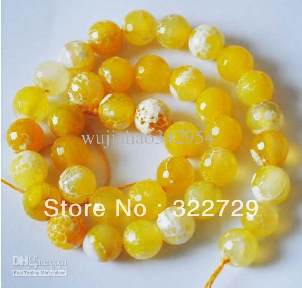 10mm Piedra Natural El Encanto Amarillo Facetado Ágata Granos Flojos DIY Accesorios de Joyería de Moda 114