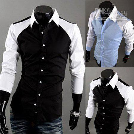 Best Mens Color Matching Shirts Fashion Fitted Casual Designer ...