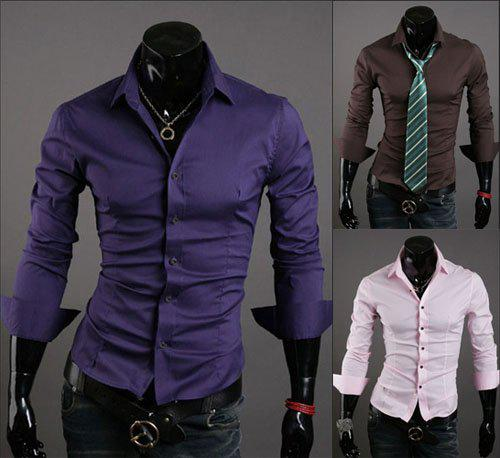 Best 2012 Latest Mens Apparel Long Sleeve Shirt Casual Slim Fit ...