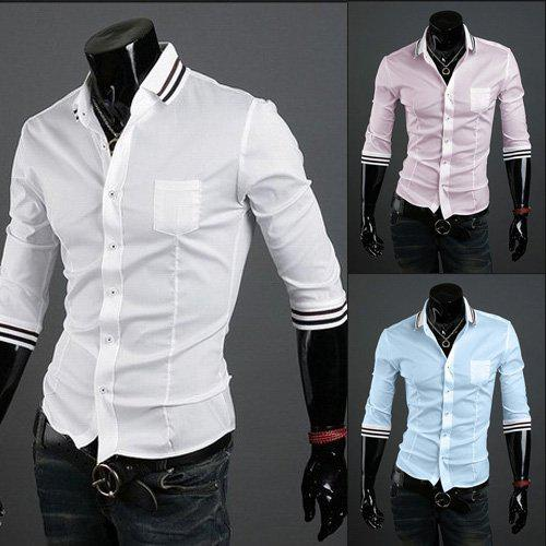 Best Funky White Button Pocket Sexy Slim Fitted Mens Shirts Sale ...