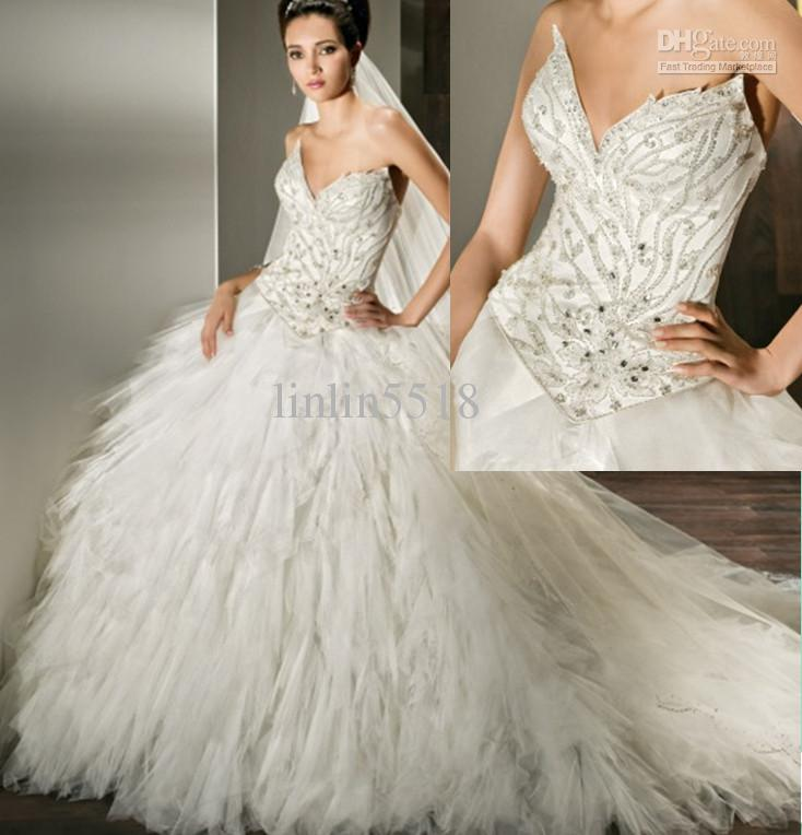 Sexy Tulle Ball Gown Wedding Dress Beaded Pointed Sweetheart Multi ...
