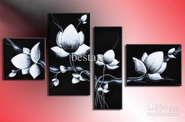 Großhandel Hand Painted Wall Art Fliegen In Schwarz Weiß Blumen Nach ...